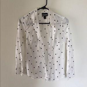 Jcrew poked dot button-down blouse